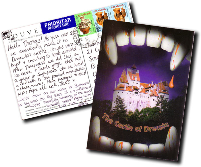 Kat and Jess' Dracula postcard...