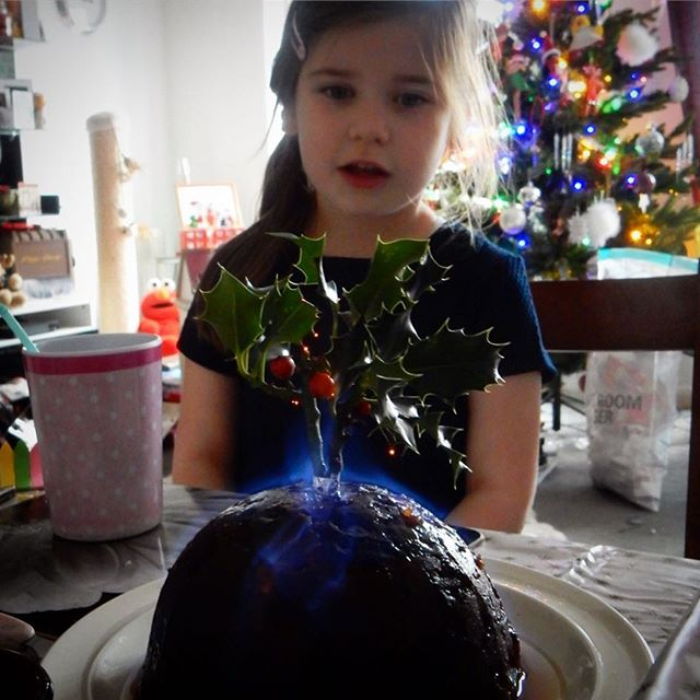 #1HappyYear Day 233: Small niece with flaming pud... #christmas #100HappyDays