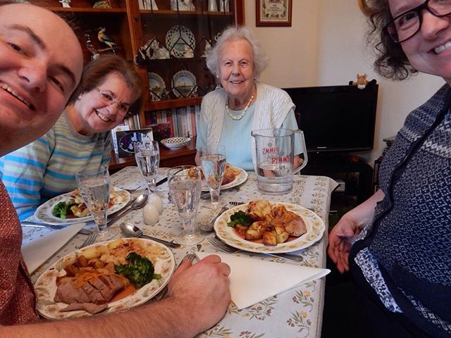 Meals on wheels. Descending on Emma's Grannie to surprise her with a roast dinner in her own home! ????