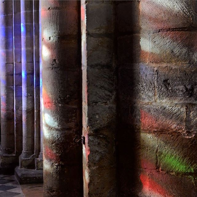 Who needs fancy electric luminere light shows when you have sunlight and stained glass?  #ely #cathedral #stainedglass #sunlight