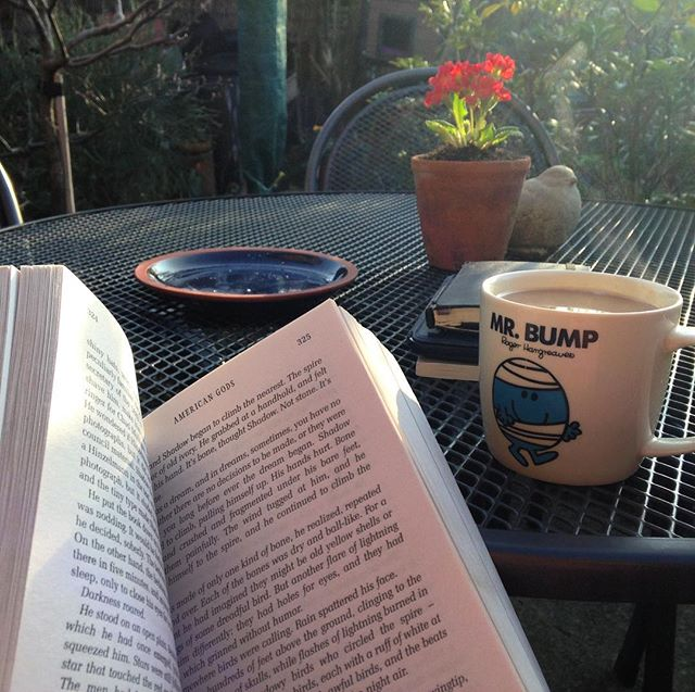 Tea, book, and garden. This is the way to end a Monday at work. ????  #tea☕️ #book???? #garden????#amreading #Spring