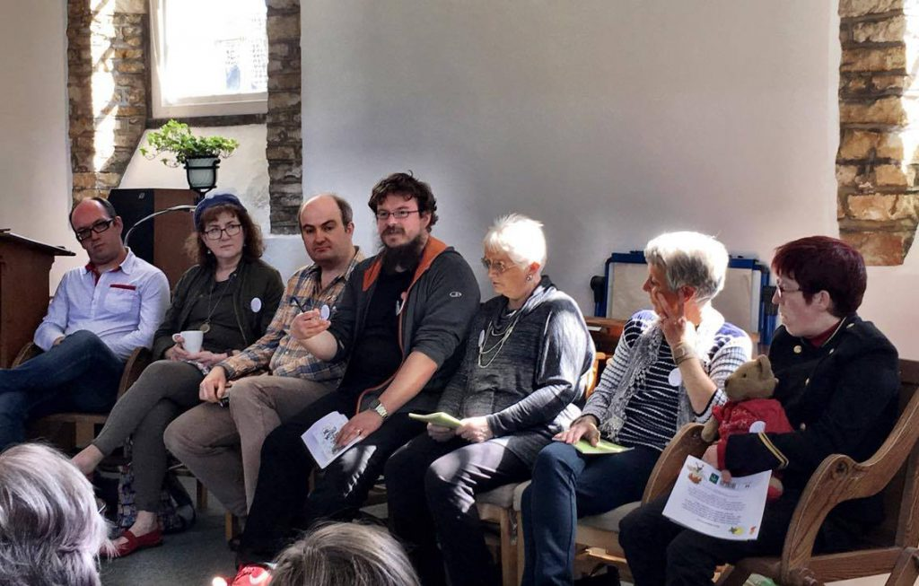 Writing About Difference panel 2017, from left: Dan Jefferies, Debbie Young, Thomas Shepherd, Dan Holloway, Joy Thomas, Jo Allmond and Jess Hiles. Photograph by Joanna Penn.