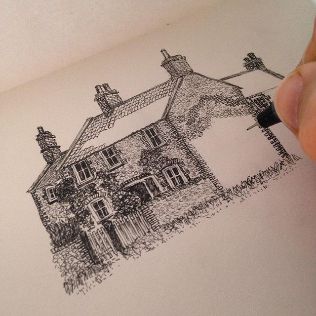 Sunday evening sketching whilst listening to #thearchers… #amdrawing #EastRunton #NorthNorfolk