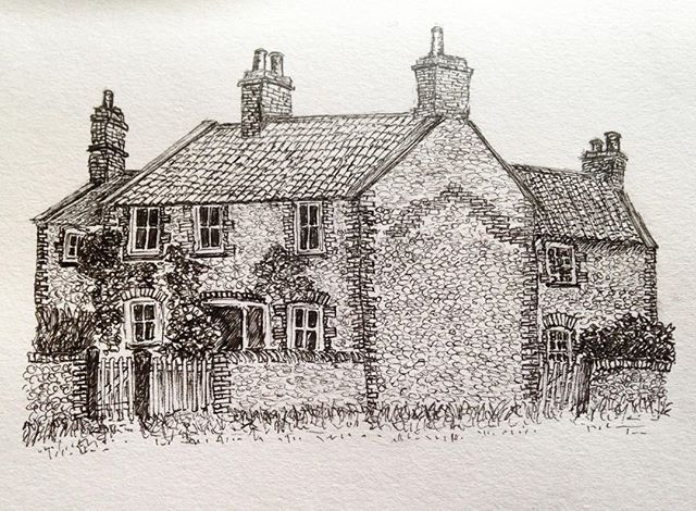 East Runton cottages  #penandink #amdrawing #NorthNorfolk