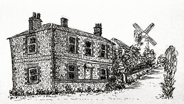 Cley windmill and cobbled cottages  #penandink #amdrawing #northnorfolk