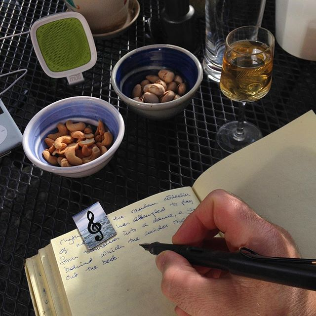 Post-work #amwriting, fuelled by nuts and sherry and summer sunshine… #cashews #pistachios #sherry #mrtumnal2 #thenovel #theotherjob