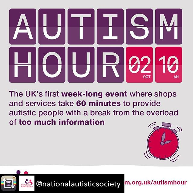 Repost from @nationalautisticsociety using @RepostRegramApp - Yesterday we launched the next part of our Too Much Information campaign - the National Autistic Society's Autism Hour.  79% of autistic people told us they feel socially isolated. We want to change that. We've teamed up with shopping centre owner intu to create the UK's first week-long event, launching 2 October, where shops and services spend 60 minutes giving autistic people a break from too much information.  Visit our website to find out more.  #AutismHour #AutismTMI