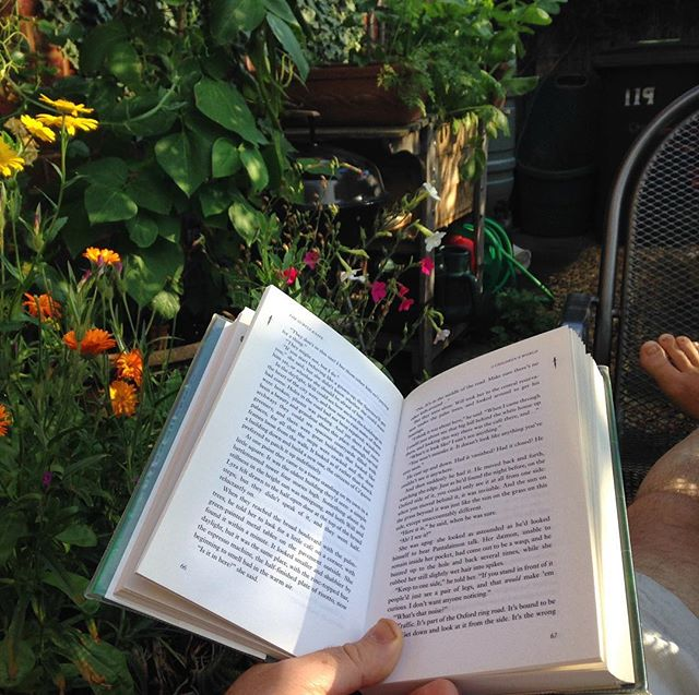 A garden is for relaxing in and #amreading in the late summer sunshine… #tea #books #flowers #garden #peace