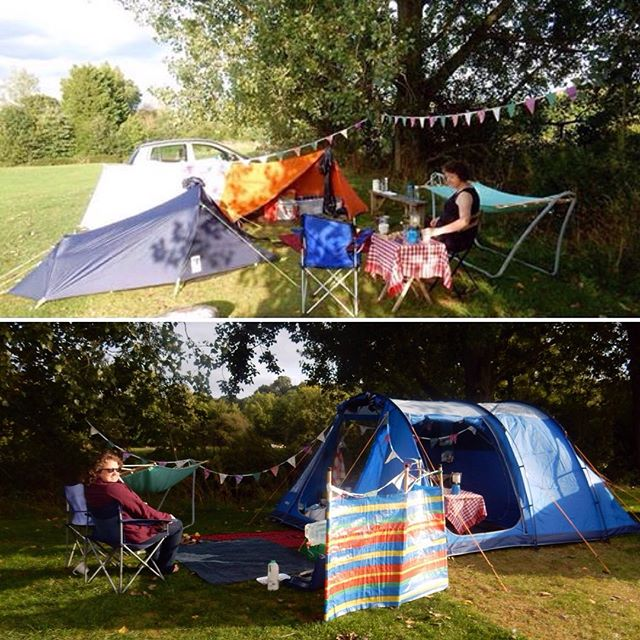 A year to the day between our trips to Holycombe Camping. How out tents have changed...