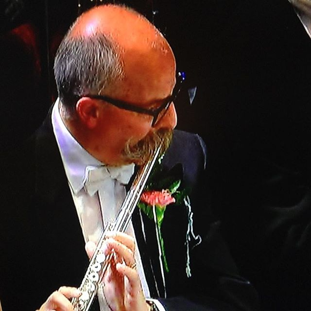 Surely this man's appendage would get in the way of the mouthpiece and head joint? #moustache #flute #flautist #lastnightoftheproms