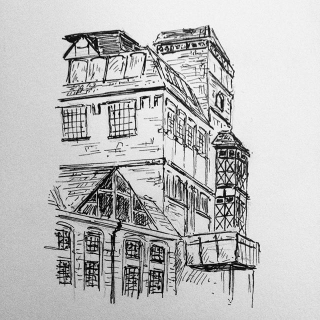 At least three of my friends are doing #Inktober so I thought I'd give it a go. I give you Hook Norton Brewery... #drawing #penandink #penandinkdrawing