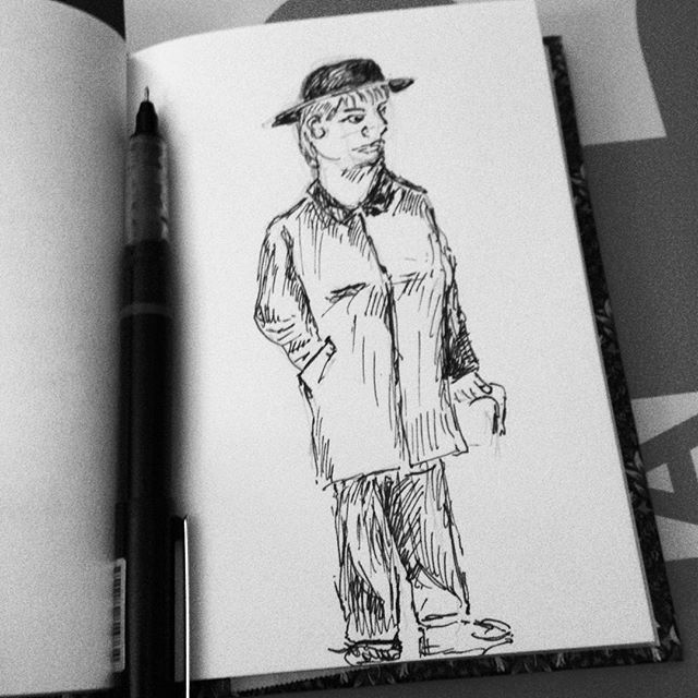 I can draw landscapes and buildings fine but I've always struggled with people. An *attempt* then at drawing the character of Alice Watson, college porter and friend to #TheImaginaryWife in my current wip... #inktober2017 #inktober #penandink #drawing #people
