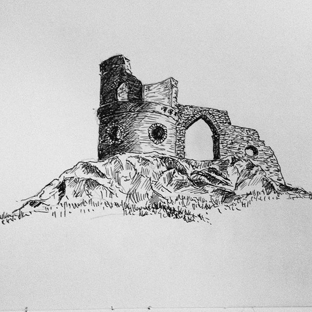 Day 9: Mow Cop is the castle that overlooked my uni days… #mowcop #folly #inktober #inktober2017 #penandink #penandinkdrawing #amdrawing