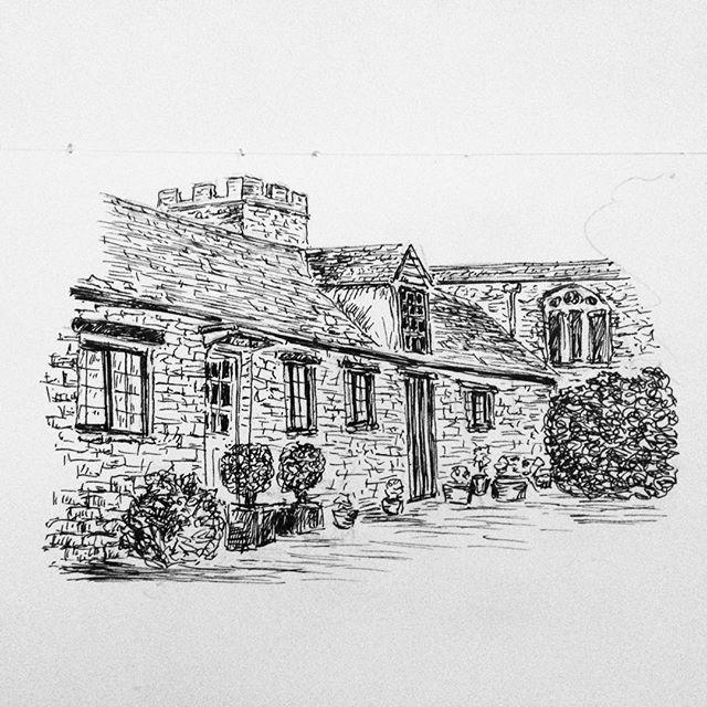 Day 8: Cotswold village cottages in Whichford... #inktober #inktober2017 #penandink #penandinkdrawing #amdrawing