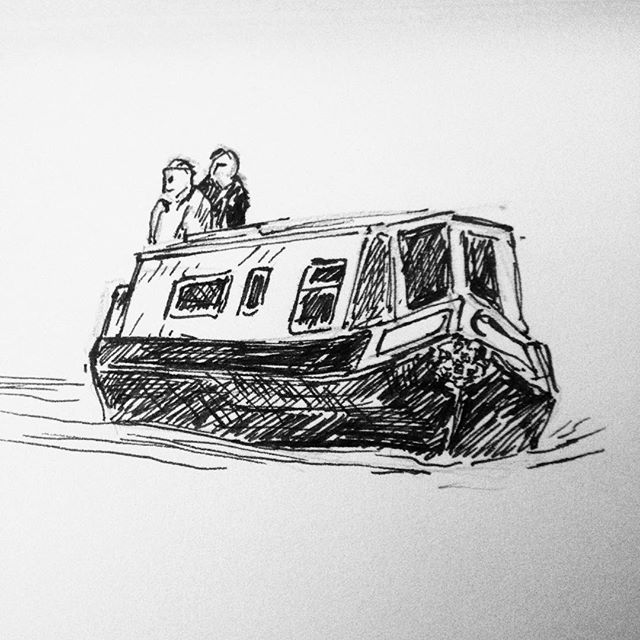 Day 12: More canal living. A quick draw between band and bed tonight... #inktober #inktober2017 #penandink #penandinkdrawing #amdrawing