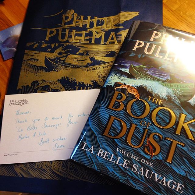 Love my favourite #indie bookshop. Now to brew the pot of tea, settle back, and enjoy... #indiebookstores #personaltouch #shoplocal #philippullman #labellesauvage #thebookofdust #books