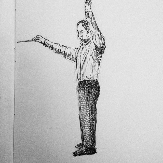 Day 19: Our last rehearsal tonight before Neil leaves us for a few months for basic training with the army. I hope he will forgive me tonight's #inktober sketch! #inktober2017 #conductor @abingdonconcertband #NeilBrownless #penandink #penandinkdrawing #amdrawing