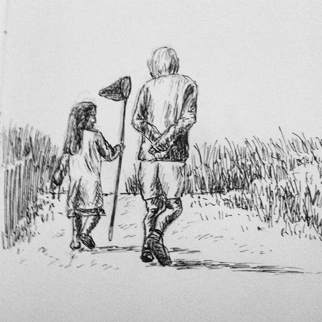 Day 21: #inktober #inktober2017 My exploration of figure drawing continues, this time my Dad walking up the beach with my cousin Melkorka... #penandink #penandinkdrawing #amdrawing @drifaadals