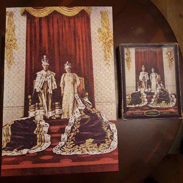 @vnemma had an 80 year old, 816 piece jigsaw of the coronation of George VI and Elizabeth to sell on eBay. The problem was we had to do the puzzle to make sure all the pieces were there, which was harder than you think considering the picture on the box was bit three same as the puzzle and it consisted of large swathes of maroon, burgundy, and gold swirly bits… #jigsaws