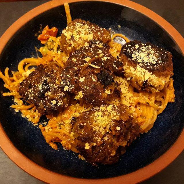 A hearty winter meal of Lentil Balls with Tomato Spaghetti... #lentils @deliciouslyella