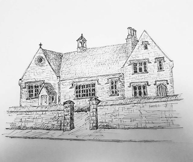 Friday night sketching of the new venue of the Hawkesbury Upton Literary Festival. @debbieyounghawkesbury, I'll provide you with a proper scan for the website tomorrow if you like?