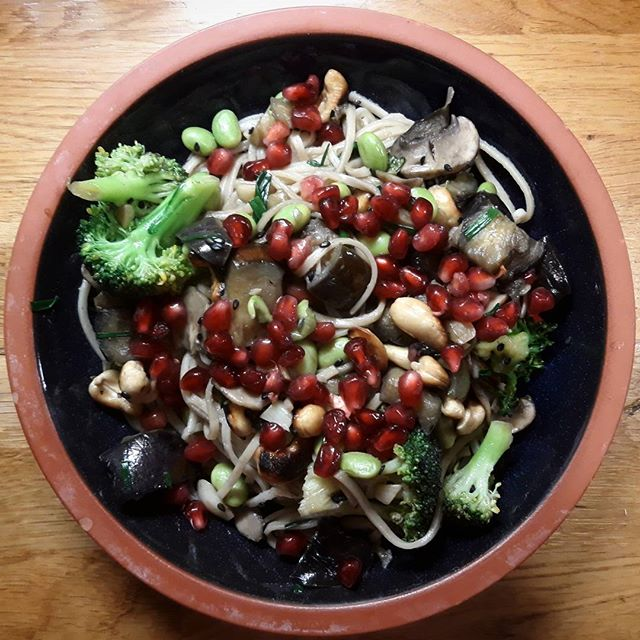 Tonight's sauteed sesame and aubergine noodle bowl was super-noodily yummy! #recipes #eatinghealthy