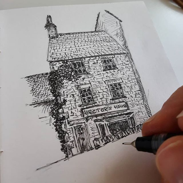 A little lunchtime work on some preparatory sketches my first #illustration commission: Hector's House Bookstore from @debbieyounghawkesbury's #SophieSayers books.