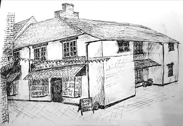 Just penned a sketch of my favourite bookshop... #bookshopsofinstagram #bookheaven???? @booksandink