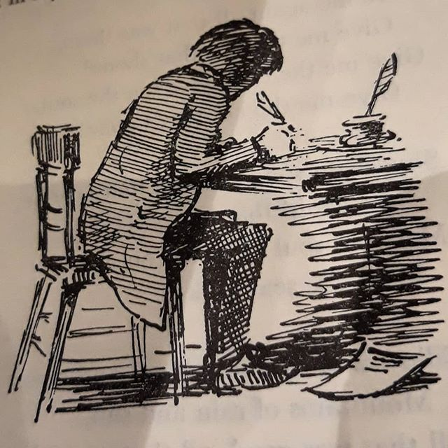 #EdwardArdizzone captures every mood in a few, simple lines… this one could be me, when I'm #amwriting…