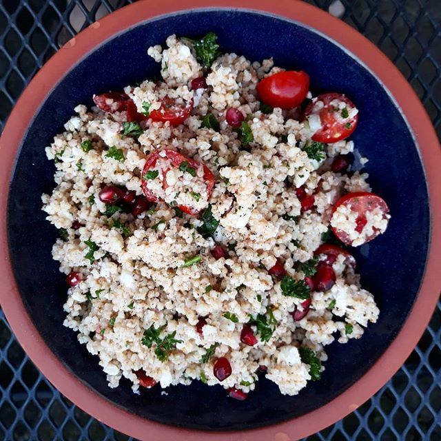 Tabbouleh with Feta and Pommegranate, al fresco in the garden… #delicious #BowlsofGoodness #eatinghealthy