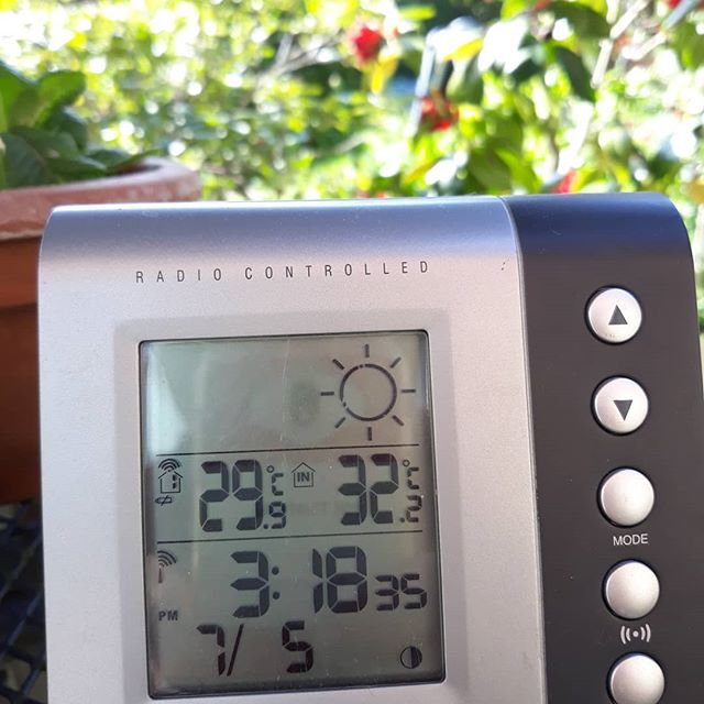 On the left, the in-shade outdoor reading. On the right, the indoor reading currently situated next to me outdoors in the shade… . Either way you look at it, it's bloomin' hot!  #bankholiday #temperature #toohot