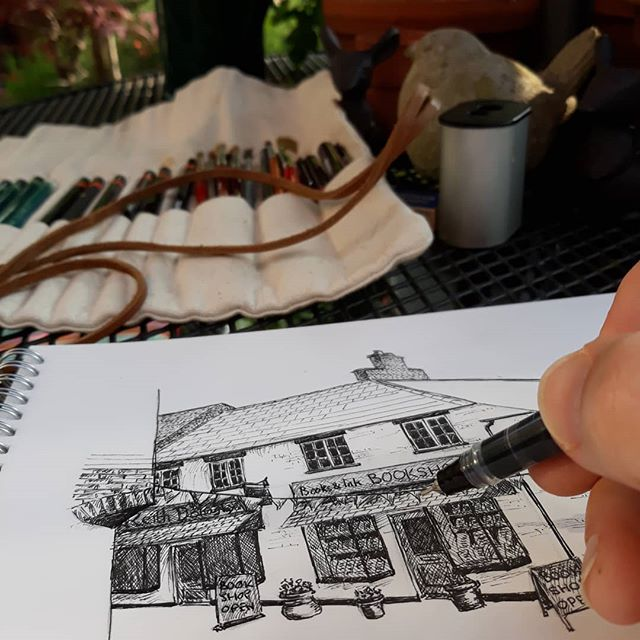 Just puttin' in the details... . @booksandink #amillustrating #illustration #bookshopsofinstagram #bookloversguidetobookshops