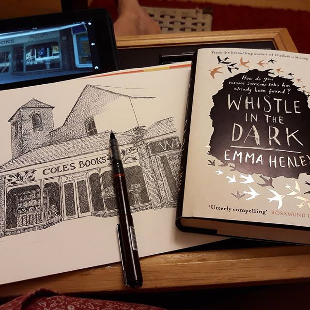 Saturday night sketching… seeing if I can finish off my #illustration of the new @colesbooksbicester which I visited today and purchased the new @echealey… . #amillustrating #books???? #bookshopsofinstagram #bookshops  #bookloversguidetobookshops