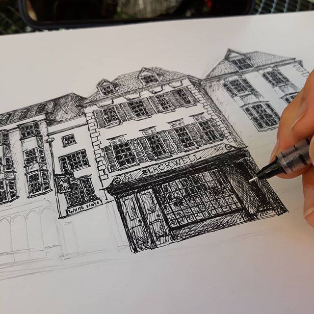 Did I day that this was hard? @blackwellsoxford  #bookshops #bookloversguidetobookshops #illustration #amillustrating