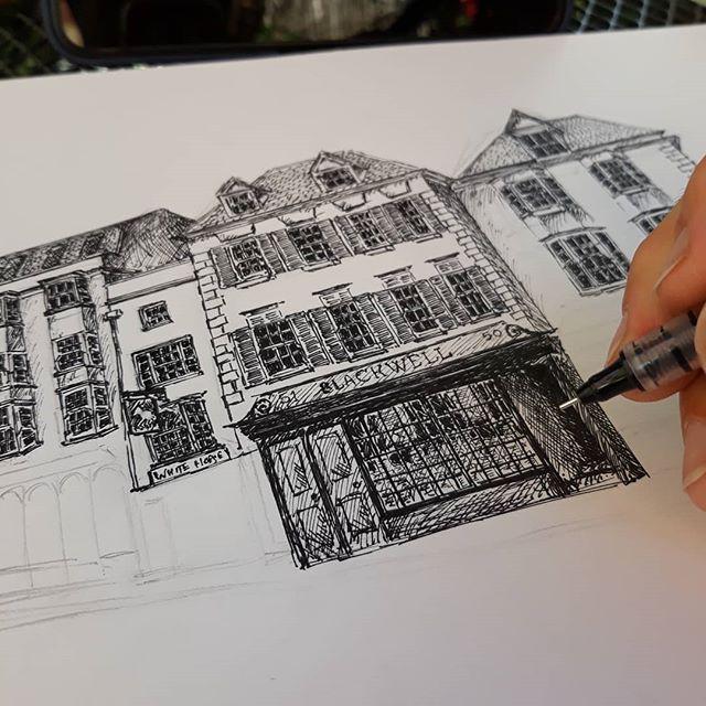 Did I day that this was hard? @blackwellsoxford  #bookshops #bookloversguidetobookshops #illustration #amillustrating