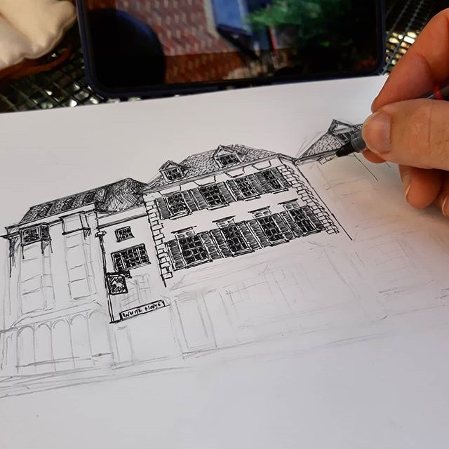Anyone notice how I've started at the top and working my way down to the most difficult shopfronts...? @blackwellsoxford #bookshops #bookloversguidetobookshops #illustration #amillustrating