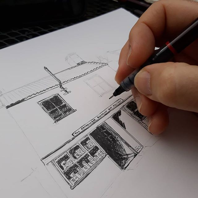 Another day, another bookshop. More roof tiles... #amillustrating #illustration #bookshops #bookloversguidetobookshops @brazenheadbooks