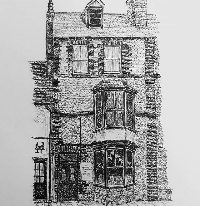 It just looks like a four-storey house from the outside but it's a #bookshop win in at Woodstock Books… #illustration #amillustrating #TheBookloversGuidetoBookshops
