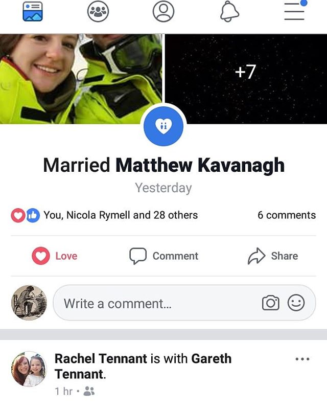 Spooky! Facebook shows me the marriage of the new  Rachel Kavanagh neé Henderson and next up a story by Rachel Kavanagh (now Tenant)...