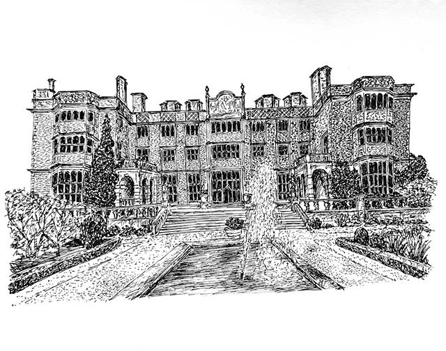 So I've been a bit quiet on the bookshop illustrations of late. That's because I've been busy working on this original of @eynshamhall in Oxfordshire for @hendosaurus.rex and @mat_kav's wedding present...