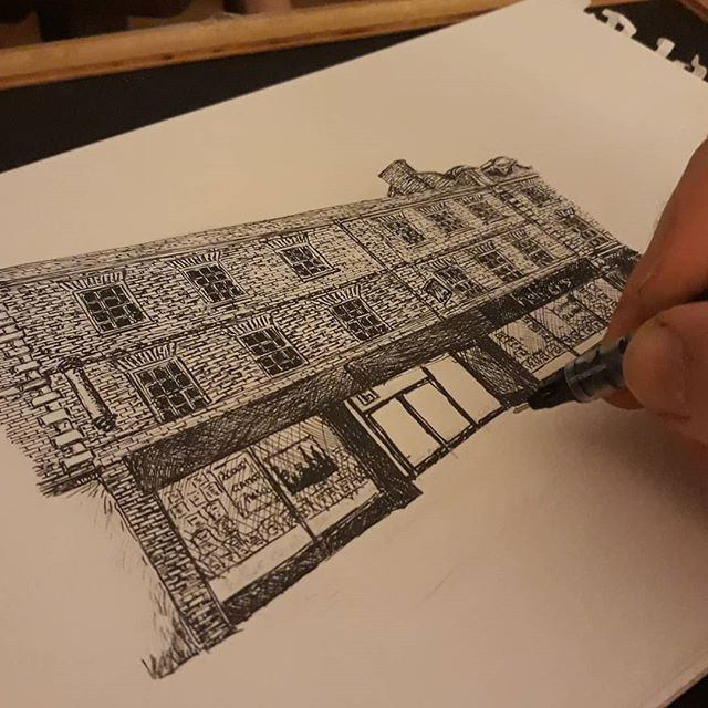 With its plain, modern frontage and concrete, cavernous interior I had always assumed @heffers_cambridge to be a brutalistic concrete building but it's actually a rather fine old brick mid-terrace... #bookshops #illustration #amillustrating #TheBookloversGuidetoBookshops