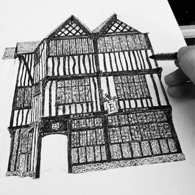 Looking more like a building now. Time to call it a night though... #bookshops #bookshopsofinstagram #bookloversguidetobookshops #illustration #amillustrating