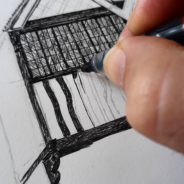 Why do I do this to myself? You'd ha e thought that a black and white Tudor building would be easy in pen and ink... #bookshops #bookshopsofinstagram #bookloversguidetobookshops #illustration #amillustrating