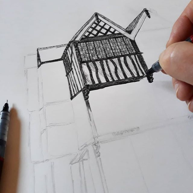 Q. Why do I do seemingly always draw buildings from the roof down? #housebuilderiamnot #illustration #amillustrating