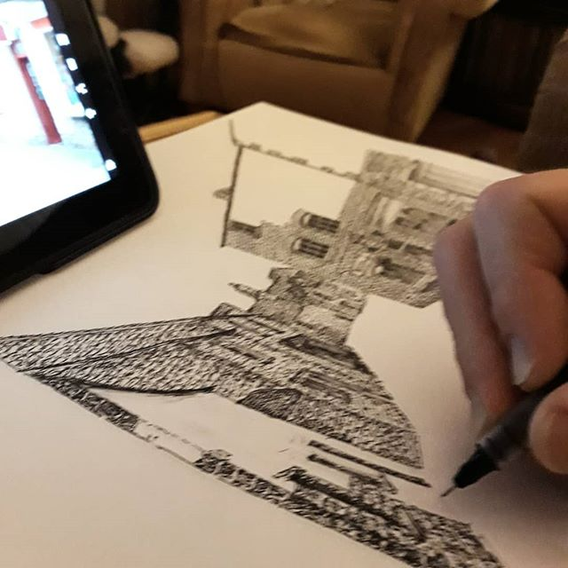 When drawing a bookshop becomes drawing the whole street... #bookshops #bookshopsofinstagram #bookloversguidetobookshops #illustration #amillustrating @borzoibookshop