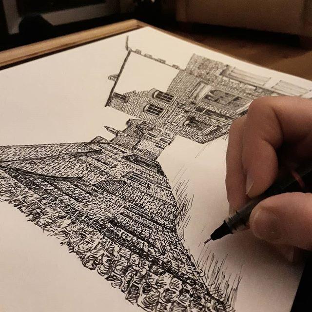 I feel like I'm building an entire Cotswold town…! #bookshops #bookshopsofinstagram #bookloversguidetobookshops #illustration #amillustrating @borzoibookshop