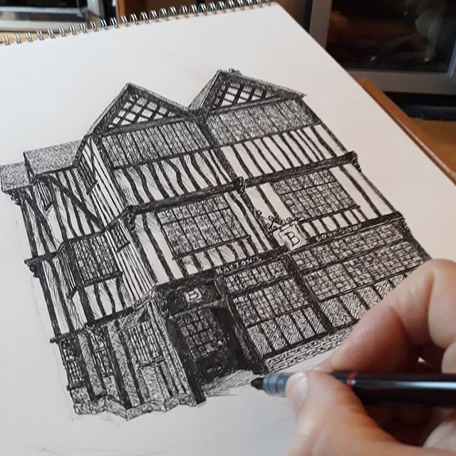 Almost there. It looks so much better with a door... #bookshops #bookshopsofinstagram #bookloversguidetobookshops #illustration #amillustrating
