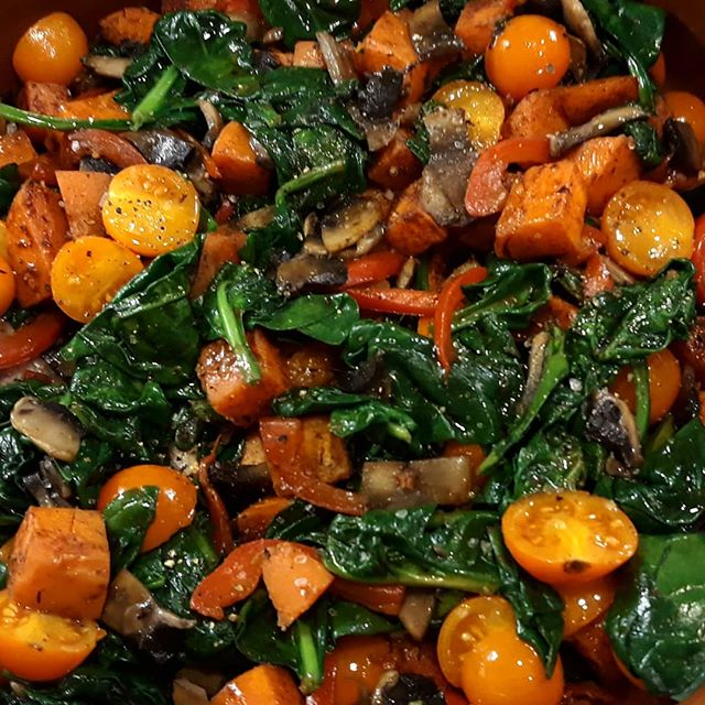 A seasonally colourful meal... #sweetpotato #spinach #paprika