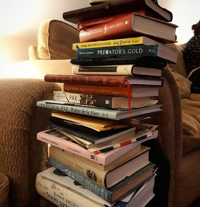 My TBR pile has reached dangerously  unstable proportions. It's tetering, toppling, and wobbling… #books #obsessions #addiction