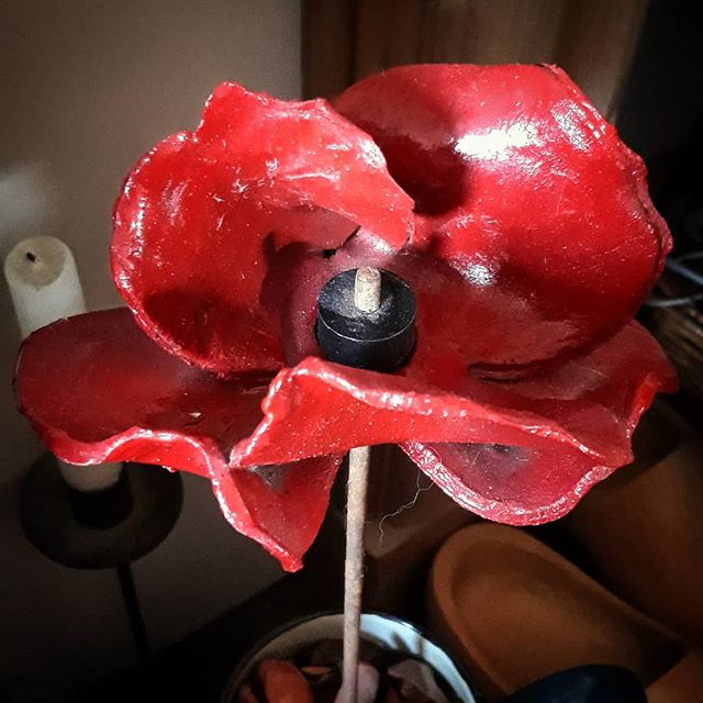 We've had this poppy by our fireplace for a most four years now. When I sit and look at it now it is hard to comprehend that for all that time 100 years ago there were families separated, soldiers away fighting, and dying. #RememberenceSunday #Armistace100 #poppy